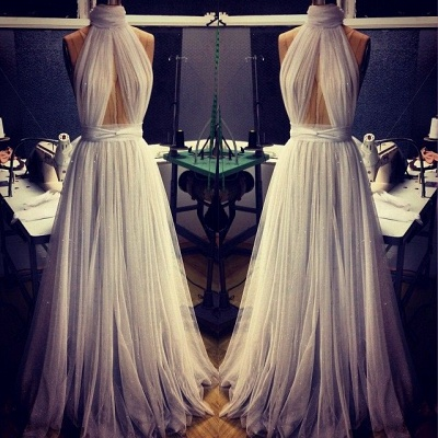 Custom Made A-line Tulle High Neck New Arrival Sleeveless Prom Dresses Cheap_3