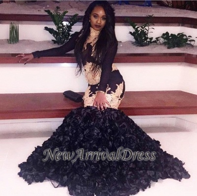 Black Long Sleeve Mermaid Prom Dress, black prom dress_1