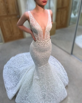 Sexy Straps V-neck Beads Lace Wedding Dresses 2019 | Sleeveless Mermaid Court Train Bridal Gowns_3