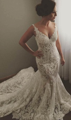V-neck Sleeveless Mermaid Wedding Dresses | Cheap Lace Appliques Bridal Gown WE0196_1