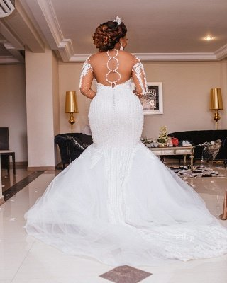 Sexy Sheer Tulle Mermaid Lace Wedding Dresses | Long Sleeve Appliques Bridal Dresses_2
