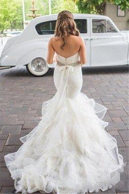 Sweetheart Mermaid Tulle Wedding Dresses Cheap Elegant Bridal Dresses with Crystal Belt_3