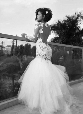 Vintage Mermaid Tulle White Wedding Dresses with Sleeves | Open Back Long Sleeve Bridal Gowns