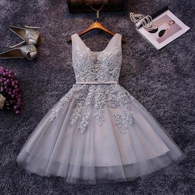 Apliques hinchados Encaje Escote en V Plata Elegante Sexy Vestidos de fiesta cortos_3