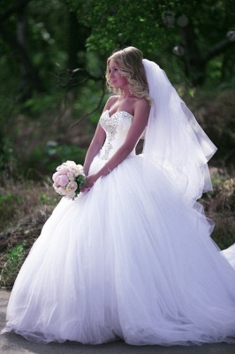 Ball Gown Bridal Dresses Crystals Beading Sweetheart Ruffles Draped Court Train Tulle Wedding Gowns_3