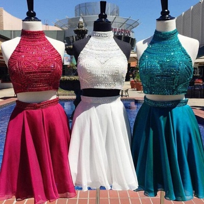 Delicate Two Piece Custom Made A-line Beads High Neck Sexy Short Homecoming Dresses_3