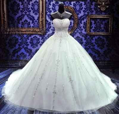 New Ball Gown Crystals Princess Wedding Dresses Sweetheart Neck -up Back Luxury Wedding Gowns_3
