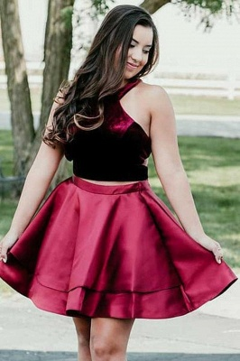 Newest Two Piece Velvet Halter Sleeveless Homecoming Dress | Short Party Gown_1