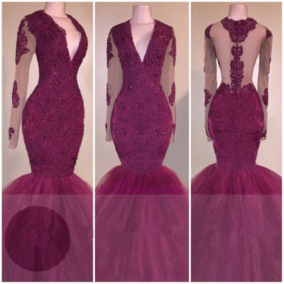 V-Neck Burgundy Tulle Mermaid Evening Gowns   Beaded Long Sleeve Appliques Prom Dresses Cheap_3