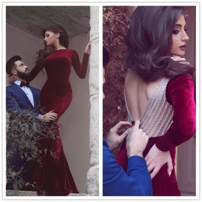 Long Sleeve Sexy Mermaid Formal Gowns | New Arrival Custom MadeLong Prom Dresses BA4038_4