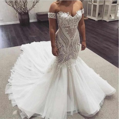 Off The Shoulder Mermaid Appliques Wedding Dresses | Sleeveless Cheap Bridal Gowns_2