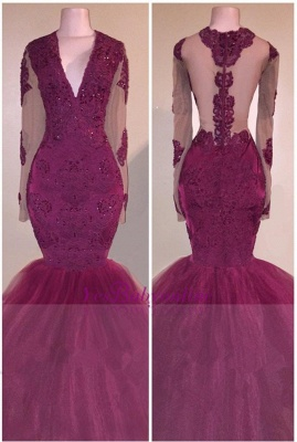 V-Neck Burgundy Tulle Mermaid Evening Gowns   Beaded Long Sleeve Appliques Prom Dresses Cheap_2