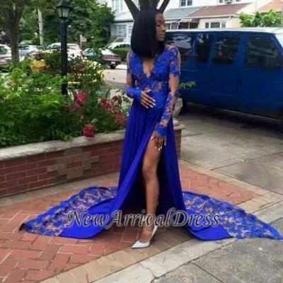 Royal-Blue Long-Sleeves Lace Side-Slit Sexy Deep-V-Neck Prom Dresses_1
