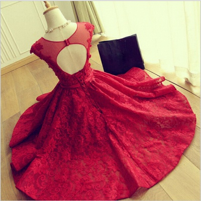 Delicate Red Lace AppliquesSexy Short Homecoming Dresses Mini with Cap Sleeve_3