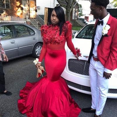 Modern Flowers Long Sleeve Red Mermaid Prom Dress | Prom Dress_3
