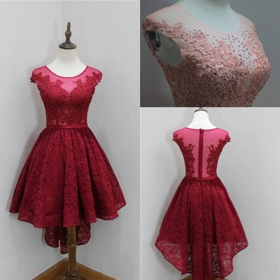 Modest Red Lace Appliques Hi-Lo Cap Sleeve Sexy Short Homecoming Dresses_4