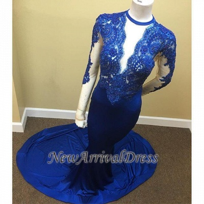 Appliques Royal Blue Sheath Sheer Tulle Lace Long Sleeve Scoop Prom Dresses Cheap_1