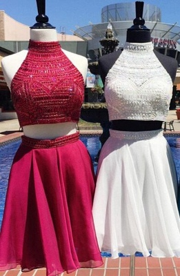 Delicate Two Piece Custom Made A-line Beads High Neck Sexy Short Homecoming Dresses_1