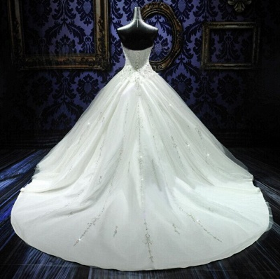 New Ball Gown Crystals Princess Wedding Dresses Sweetheart Neck -up Back Luxury Wedding Gowns_4