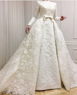 Muslim Lace Appliques Jewel Ball Gown Bridal Dress | Luxury Beaded Overskirt Long Sleeve Wedding Dresses Cheap Online_3