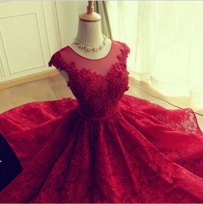 Delicate Red Lace AppliquesSexy Short Homecoming Dresses Mini with Cap Sleeve_4
