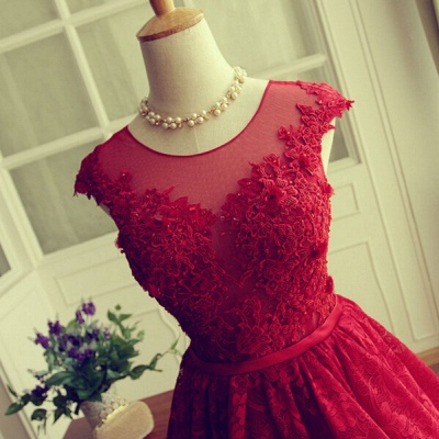 Delicate Red Lace AppliquesSexy Short Homecoming Dresses Mini with Cap Sleeve_5
