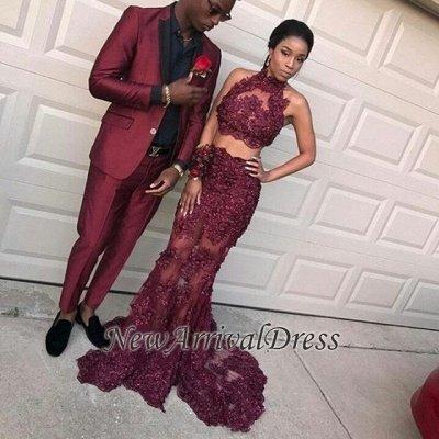 8f62df18073 Lace Halter Burgundy Prom Dress
