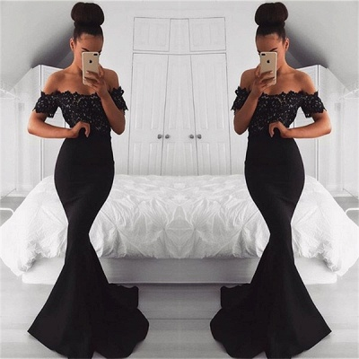 Black Off the Shoulder Lace Mermaid Prom Dresses   Short Sleeves Formal Gowns_3