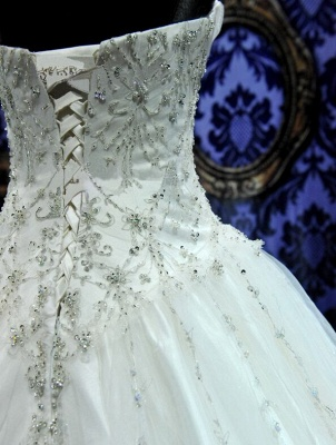 New Ball Gown Crystals Princess Wedding Dresses Sweetheart Neck -up Back Luxury Wedding Gowns_5
