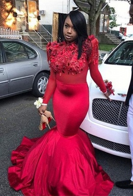 Modern Flowers Long Sleeve Red Mermaid Prom Dress | Prom Dress_1