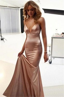 Spaghetti Straps Sexy Open Back Formal Dresses Long | Cheap Pink Prom Dresses Mermaid Online_3