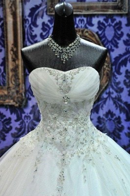 New Ball Gown Crystals Princess Wedding Dresses Sweetheart Neck -up Back Luxury Wedding Gowns_6