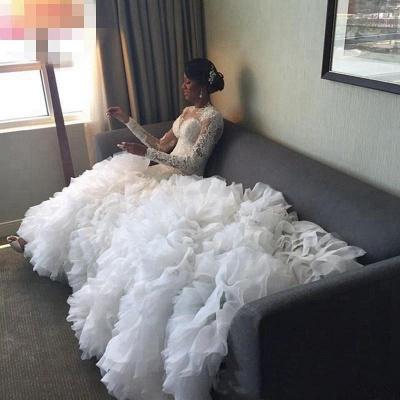 Elegant New Arrival Beautiful Lace Appliques Ruffles Mermaid Wedding Dresses_3