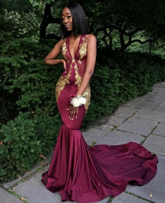 Sexy Burgundy V-Neck Sleeveless Prom Dresses   Long Mermaid Appliques Formal Dresses SK0093_1