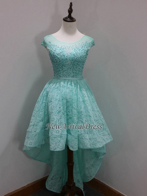Sleeves Custom Made A-line Dresses New Arrival Sequins Scoop High-Low Cap Lace Homecoming Long Prom Dresses Cheap_1