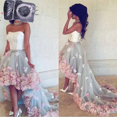 Newest Flowers Hi-Lo A-line Sleeveless Sweetheart Prom Dress_3