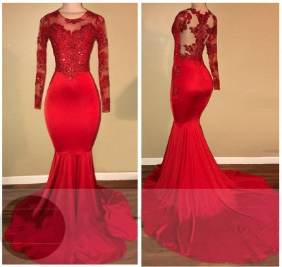 Mermaid Long Sleeve Red Appliques Sheer Amazing Prom Dresses Cheap BA7856_3