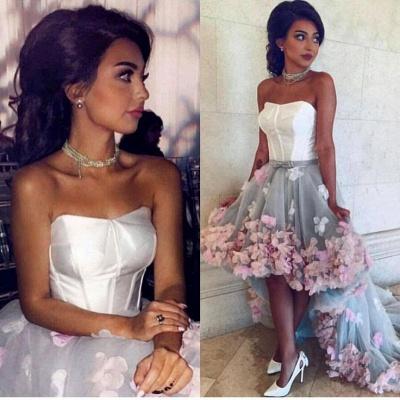 Newest Flowers Hi-Lo A-line Sleeveless Sweetheart Prom Dress_2