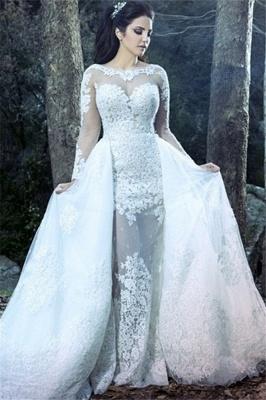 Sheath Beautiful Lace Long Sleeve Amazing Sheer Tulle Overskirt Wedding Dresses_2