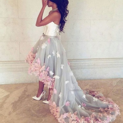Newest Flowers Hi-Lo A-line Sleeveless Sweetheart Prom Dress_4