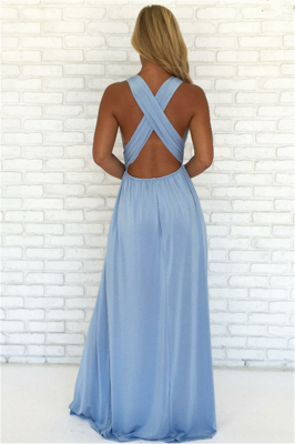 Crisscross Side Split Blue Formal Dresses Cheap | V-neck Sexy Formal Party Dress Online_3