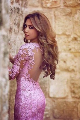 Lilac Long Sleeves Mermaid Prom Dresses Sheer Lace Backless Sexy Evening Gowns_2