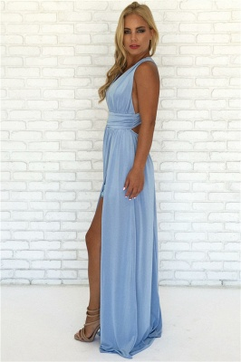 Crisscross Side Split Blue Formal Dresses Cheap | V-neck Sexy Formal Party Dress Online_4