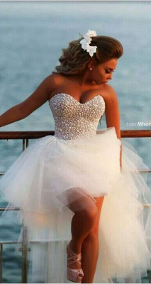 Beach Wedding Gowns Beading Pearls Hi Lo Sweetheart Ruched Ruffle Tulle Bridal Dresses_1