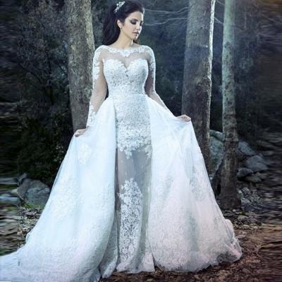Sheath Beautiful Lace Long Sleeve Amazing Sheer Tulle Overskirt Wedding Dresses_3