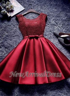 Bowknot Sash Lace-Up-Back Red Custom Made A-line Sexy Short Homecoming Dresses_1