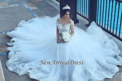 Crystal Off The Shoulder Elegant Appliques Tulle Ball Wedding Dresses Cheap Online_1