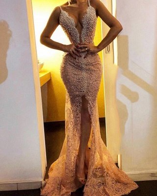 Sexy Mermaid Lace Prom Dresses 2021 | Straps Front Split Beaded Cheap Evening Dresses_1