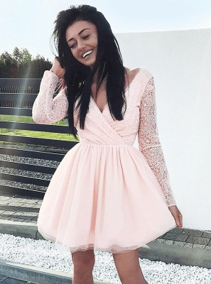 Newest Long Sleeve A-line V-neck Lace Short Homecoming Dress_6