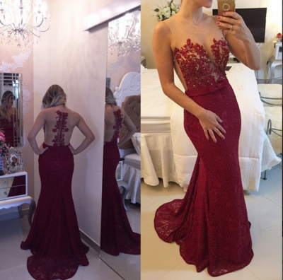 Burgundy Lace Applique Beading Mermaid Prom DressesSheer Tulle New Evening Gowns BT00_2